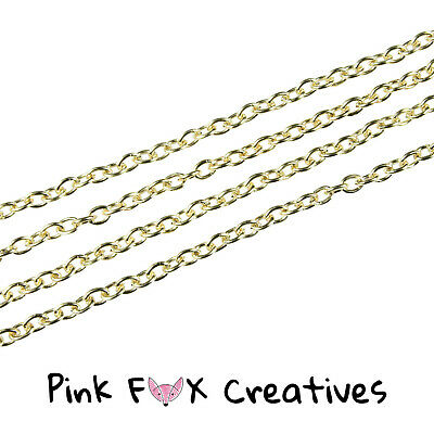 10m ROSE GOLD PLATED 3 X 2mm CLOSED CABLE NECKLACE FINDING CHAIN JEWELLERY • 4.99£