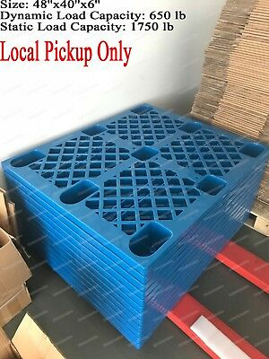 $15.99 • Buy Used Blue Plastic Heavy Duty Shipping Freight Pallet, 48''x 40'', Cap 1750Lb
