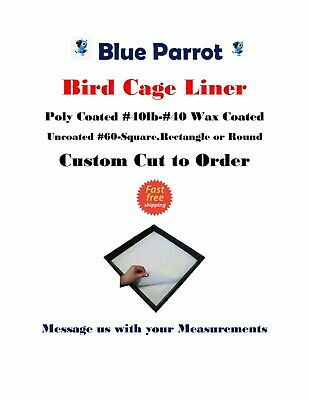 $75 • Buy Blue Parrot Custom Cut Birdcage Liner 150 Sheets Plain-Coated & Wax Cut To Order