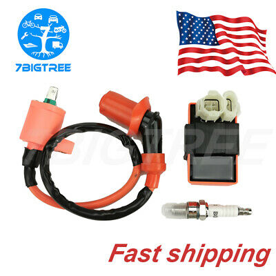 Racing CDI Ignition Coil Spark Plug For GY6 50cc 125cc 150cc Moped Magneto Parts • 11.99$