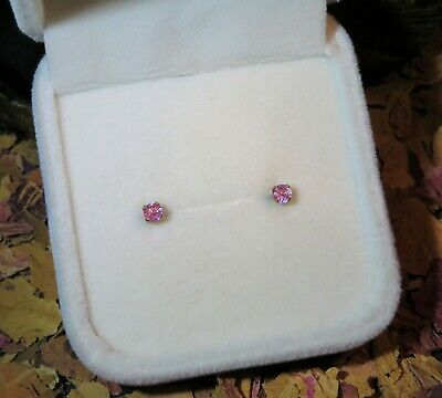 AU44.95 • Buy HOT! Cute Genuine Natural Pink Sapphire 2.9mm Facet Yellow Gold Stud Earrings 💖