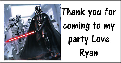 £1.99 • Buy Personalised 48 Star Wars Darth Vader Thank You Stickers Party Bag Sweet Cones