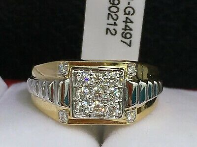 $1337.97 • Buy 18k Solid Two Tones Gold Men Cluster VS Diamond Ring 0.50CT, Sz 9.5 Was $7900