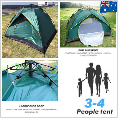 AU44.99 • Buy UV Protection 3-4 Person Family Camping Tent Pop Up Canvas Swag Hiking Beach AU