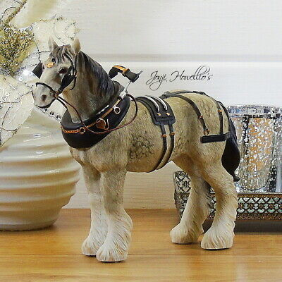 Small Grey SHIRE HORSE Ornament Figurine Statue Gift Collectable 15 Cm Home Deco • 15.90£