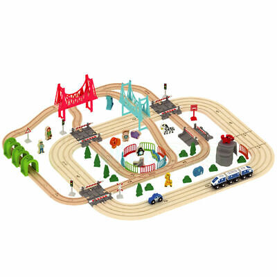 Wooden 100+ Pcs Road & Train Set Railway Track Toy Brio Bigjigs Compatible Gift • 39.99£