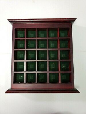 Golf Ball Display Case Wall Cabinet, NO Door,  Holds 25 Balls Cherry Finish Used • 6.43£
