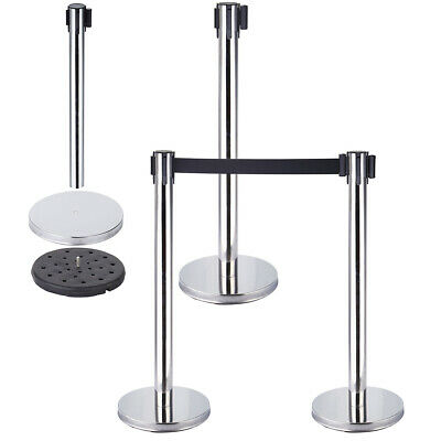 2pcs Retractable Crowd Queue Control Safety Barrier Posts Stainless • 33.50£