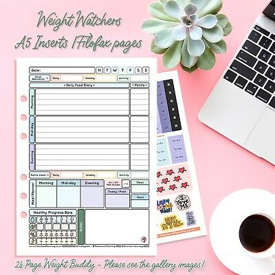 Food Diary A5 Inserts WEIGHT WATCHERS Compatible WITH Stickers & Countdown FREE • 8.45£
