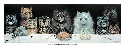 £15.75 • Buy Louis  Wain About To Receive By Louis Wain Quality Print - Cats Table Cat Feline