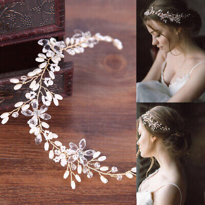 $7.09 • Buy Pearl Flower Crystal Rhinestone Wedding Bridal Headband Clip Hair Band Tiara
