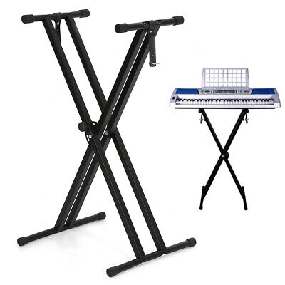 Adjustable Height Folding X Type Double-Braced Music Piano Keyboard Stand New • 11.85£
