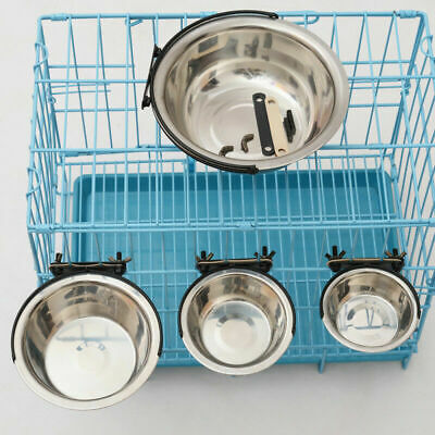 Pet Dog Feeder Puppy Cat Cage Crate Run Hang On Bowl Food Water Feeding Dish • 6.39£