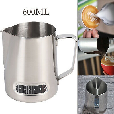 £6.79 • Buy 600ml Stainless Steel Milk Jug Frothing Frother Coffee Latte Pitcher Thermometer