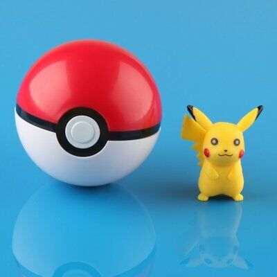 Pokemon Pokeball Pop-up BALL 7cm Toy Action Figure W/Pikachu Monster • 5.09£