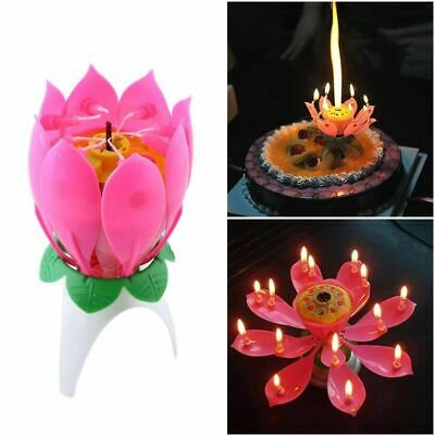 $ CDN10.32 • Buy Singing Birthday Lotus Candle Flower Music Party Light Glow Mechanical Cake Best