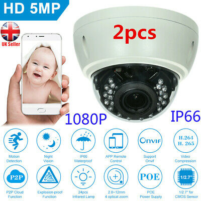 2PCS 5MP Dome POE CCTV IP Camera Explosion-proof 2.8-12mm 4X Optical Manual Zoom • 79.99£