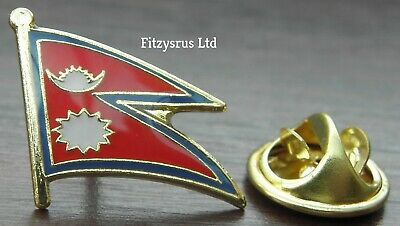 Nepal Country Flag Lapel Hat Cap Tie Pin Badge Loktāntrik Ganatantra Nepāl Asia • 8.02£