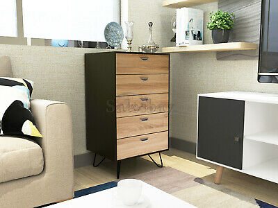 AU126.99 • Buy Tallboy Bedside Table Night Stand Modern Drawer 5 Chest Drawers Cabinet Storage