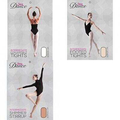 Girls Tights Footed Convertible Ballet Tights Tan Theatrical Pink Silky • 4.49£