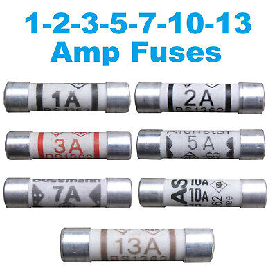 BEST QUALITY Fuses Household Domestic Plug Fuse Cartridge 1 2 3 5 7 10 13 Amp • 3.50£