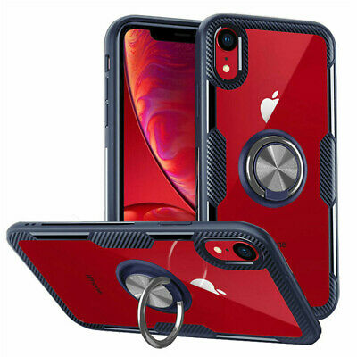 AU9.11 • Buy For IPhone XS XR X 8 7 Plus Magnetic With 360 RIng Holder Clear Hard Case Cover
