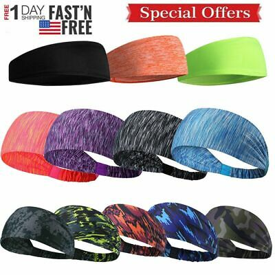 $5.69 • Buy Women Men Gym Stretch Headband Sport Sweat Sweatband Yoga Hair Head Band 3-Types