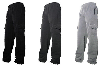 $22.99 • Buy Mens Fleece Lined Cargo Sweat Pants Track Pants With Bottom Drawstring L-2XL