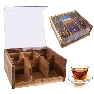 Vintage Wooden Tea Box Caddy Kitchen Lid Bag Storage With 6 Deeper Compartment • 12.98£
