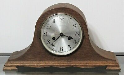 Vintage HALLER A G Wooden Humpback Mantel Clock W/ Key - Made In Germany • 56.15£