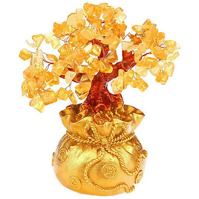 AU19 • Buy Feng Shui Citrine Yellow Crytal Money Tree With Money Bag Pot For Lucky Wealth