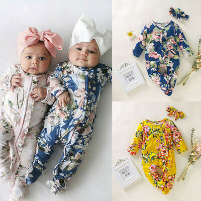 AU14.59 • Buy 2PCS Newborn Infant Baby Girl Boy Footed Sleeper Romper Headband Clothes Outfits