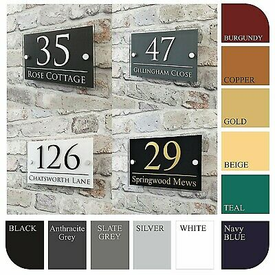 Contemporary House Sign Address Plaques Door Number Name Plates Personalised • 11.99£