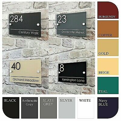 Contemporary House Sign Door Numbers & Address Plaques Personalised Name Plates • 11.99£