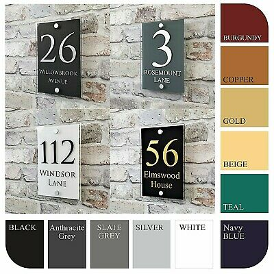 Personalised House Sign Plaques & Door Numbers Contemporary Address Name Plates • 9.99£