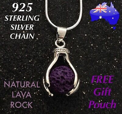 AU9.95 • Buy Healing Hands Natural Lava Rock Oil Diffuser 925 Sterling Silver Chain Necklace