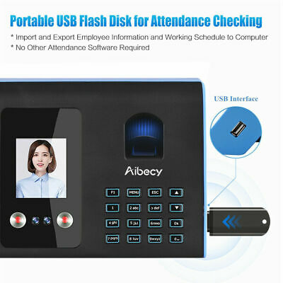 Biometric Time Attendance Machine Face Fingerprint Password System USB Clock In • 139.99£