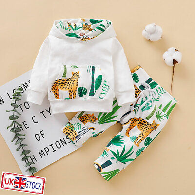 UK Kids Baby Boys Girls Animals Print Hooded Tops Pants Trousers Outfits Clothes • 6.99£