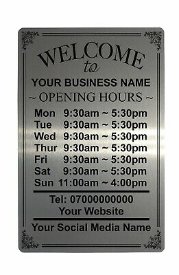 £4.98 • Buy Personalised OPENING TIME/HOURS Aluminium Plaque Metal Sign Shop Pub Bar 5 Sizes