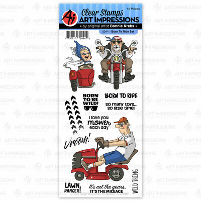Men Born To Ride Clear Unmounted Rubber Stamp Set ART IMPRESSIONS 5044 New • 13.02£