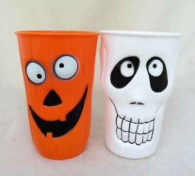 $7.99 • Buy Set Of 2 Cups Pumpkin Ghost Halloween Party Table Sitter Home Decor