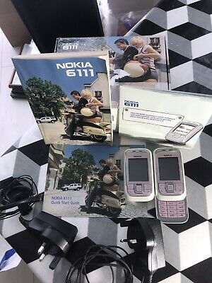 2 Nokia 6111  Mobile Slide Phones, 2plug-in Chargers User Guide Great Condition • 25£
