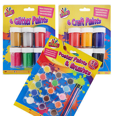 Childrens Paint Pot Sets - Poster Paints  - 3 Sets To Choose From - Kids Art Set • 6.99£