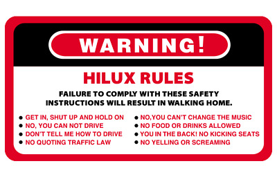 AU6.50 • Buy Warning Rules Hilux Series 4WD 4x4 Vehicles Decal Stickers