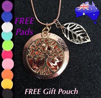 AU12.95 • Buy Rose Gold Tree Of Life Leaf Aromatherapy Oil Diffuser Aroma Locket Necklace Gift