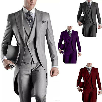 $ CDN126.26 • Buy 3PCS Men's Suits Groom Tuxedos Wedding Formal Swallowtail Tailcoat Morning Suits
