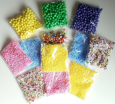 AU7.14 • Buy 12 Pack Of Slime Foam Beads (random Colours) Large And Small Sizes