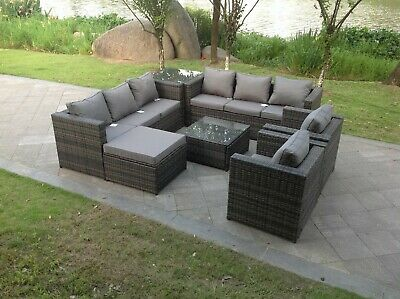 £1099 • Buy 9 Seater Rattan Sofa Set Chair Coffee Table Footstool Outdoor Garden Furniture