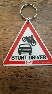 Stunt Driver Car / Biker Road Sign Warning Triangle Large Keyring Double Sided • 2.99£