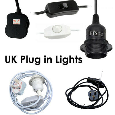 Plug In Light Bulb Kit E27 Lamp ES Switch Socket Holder Black White UK • 11.01£
